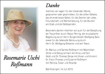 Zur Gedenkseite von Rosemarie Uschi