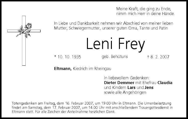 Leni Frey Traueranzeige Trauer Infranken De