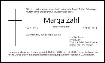 Zur Gedenkseite von Marga