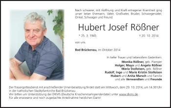 Zur Gedenkseite von Hubert Josef