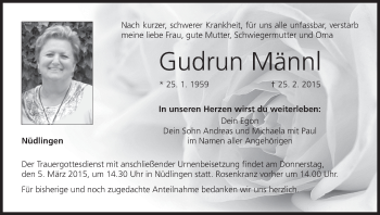 Zur Gedenkseite von Gudrun