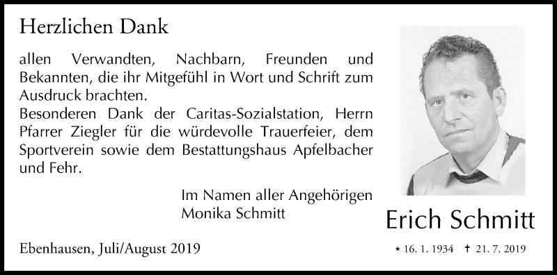 Anzeige von Erich Schmitt | trauer inFranken de