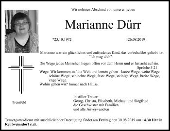 Marianne Dürr Traueranzeige Trauerinfrankende